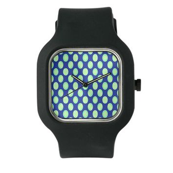 Green Yellow Circles on Dark Blue Watch