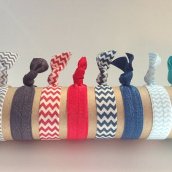 Sailor's Knot Collection Elastic Hair Ties Bracelets - No Crease No Pull - Soft Comfy - Chevron Solid