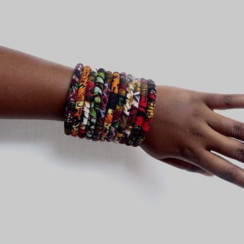 African print bangle - mix colors (11 pieces)