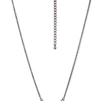 FOREVER 21 Rhinestoned Crescent Necklace Gunmetal/Clear One