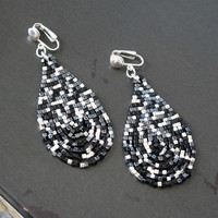 Multi Black And Silver Beaded Sterling Silver Statement Clip-on Earrings For Non-Pierced Ears
