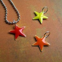 Fire Stars 3 Stars With a Ball Chain by DaisyChains on Etsy