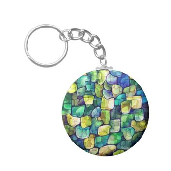 Contemporary Green Pattern Keychain