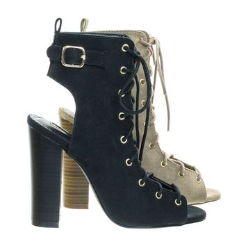 Sage64 Open Toe Combat Corset Lace Up Dress Boot On Chunky Block Heel & Open Toe