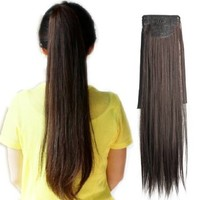 Vktech Long Lady Girl Straight Ponytail Wigs Pony Hair Hairpiece Extension (Dark Brown)