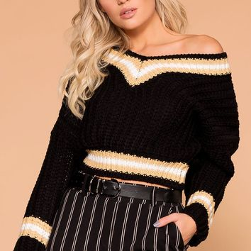 Lynden Black Knit Crop Sweater