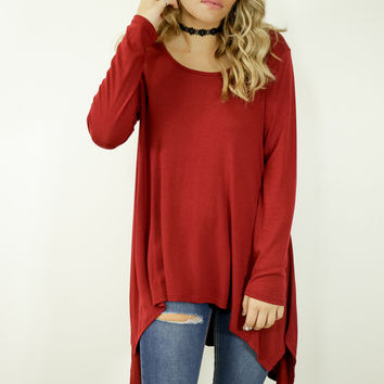 Brentwood Burgundy Scoop Neck Long Sleeve Asymmetrical Top