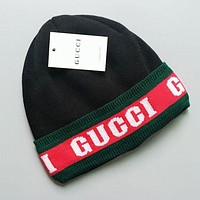 GUCCI Classic Trending Stylish Jacquard Knit Velvet Hat Warm Cap Black