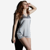 Fashion round neck silk suspenders sexy pajamas piece fitted new spring and summer women's solid color tracksuit