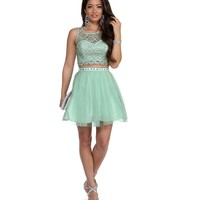 Carla Mint Two Piece Prom Dress