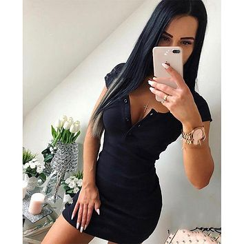 Summer Dress 2019 Fall Women Sexy Casual Knit Sheath Mini Dresses Ladies Solid V Neck Chest Button Short Sleeve Bodycon Dress
