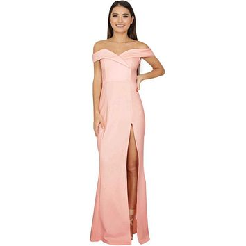 Fashion Summer Dress Women Off Shoulder Sleeveless Split The Fork Lrregular Formal Dresses Split Sheath Maxi Dress
