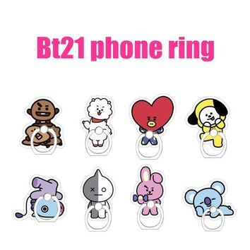 KPOP BTS Bangtan Boys Army Cute Cartoon Keychain Keyring Mobile Phone Finger Holder BT21    Boys Korean Style Fashion AT_89_10