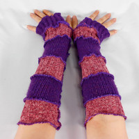 Upcycled Clothing, Katwise Style Armwarmers, Boho Chic, Patchwork Fingerless Gloves, Women's Hippie Accesories, Recycled Sweaters