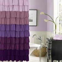Dainty Home Flamenco Ruffled Shower Curtain, 72 by 72-Inch, Purple