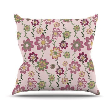 "Nika Martinez ""Romantic Flowers in Pink"" Blush Floral Outdoor Throw Pillow"