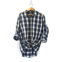 Vintage Plaid cotton shirt / Grunge Shirt / White & blue cotton button up shirt / distressed / size XL