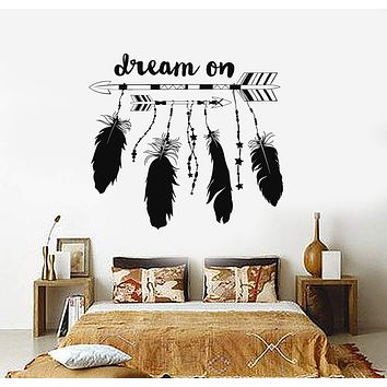 Vinyl Wall Decal Dream Catcher Feathers Ethnic Style Talisman Stickers Unique Gift (ig3841)