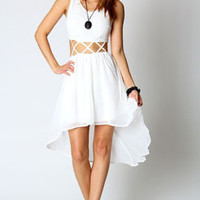 Heather criss cross cut out chiffon mixi dress