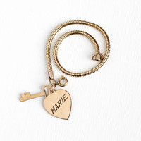 Vintage 12k Rosy Yellow Gold Filled Key To Heart Engraved Marie Charm Bracelet - Retro Dated July 21st 1957 Pendant Sweetheart Name Jewelry