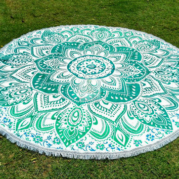 Beach Throw Round Mandala Green Lotus Flower, Hippie Tapestries, Garden Baby Mat, Garden Yoga Mat, Room Decor, Pure Cotton 3068