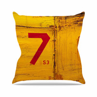 "Steve Dix ""7S3"" Yellow Painting Outdoor Throw Pillow"