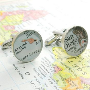 Personalized Sterling Map Round Cufflinks