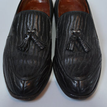 Rare Vintage 60s Dack's Tasseled Loafers - Retro Black Men's Seal Skin Shoes Size 8 D