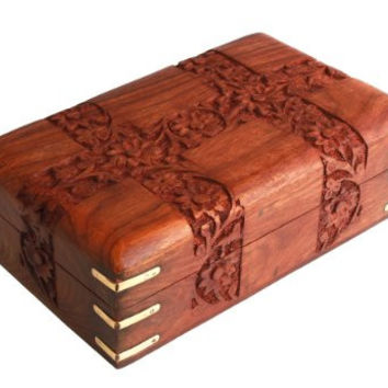 Hand Carved Rosewood Jewelry Organizer Chest Keepsake Storage Box with Velvet Interior