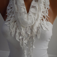White Lace Scarf- Shawl Headband - Cowl with Lace Edge