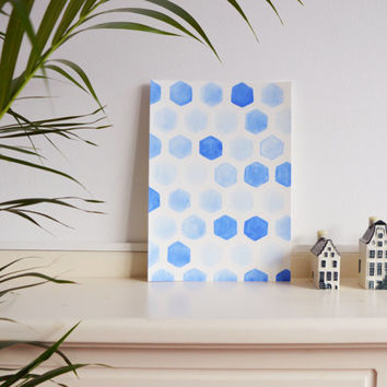 Blue original watercolor painting monochrome home decor A/4 wall art hexagon geometry baby boy nursery decor office decor indigo aquamarine
