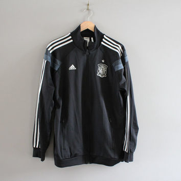 Adidas Black Jacket 3 Stripes Jersey Jacket Training Sports Warm-Up Jacket Adidas Track Jacket Tracksuit Vintage 90s Size L