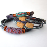 Ethnic tribal boho stacking bangles bracelets,waxed cotton cord bangles,fiber bracelets