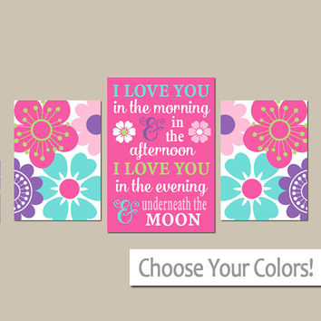 Girl QUOTE WALL ART - I Love You in the Morning Quote - Colorful Nursery Art - Colorful Flowers - Girl Bedroom - Canvas or Prints -Set of 3