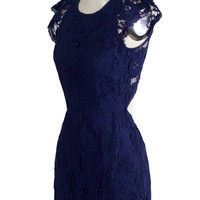 Lilyan Navy Blue Vintage Backless  Inspired Lace Dress