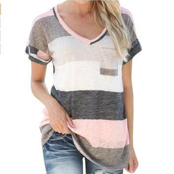 Cotton Shirt Women's Summer Fashion Short Sleeve Top Tee Blouse - Red/Grey