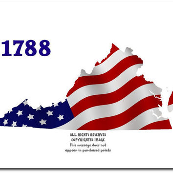 Virginia State Map Usa Flag Stars Stripes From