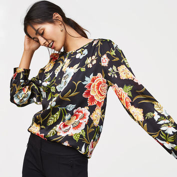 Poppy Bloom Shirred Keyhole Blouse | LOFT