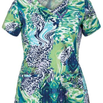 Blue and Green Aniaml Print Scrub Top For Women - Jockey 2327 Animal Print Scrub Top