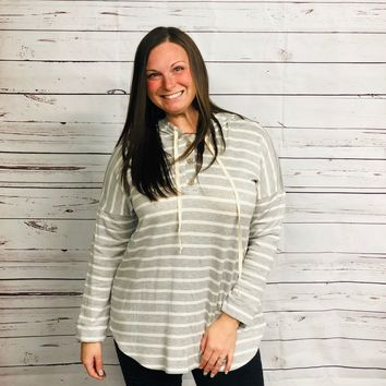 Taylor Striped Hoodie with 3 Button Front in Heather Grey