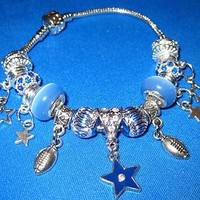 C21 Cheer for Dallas Cowboys Charm Bracelet Blue Glass Rhinestone Stars NFL 8""