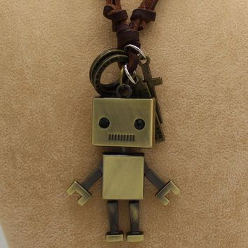 Metal Robot Leather Rope Necklace