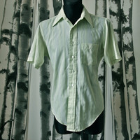 Vintage Men's 60's Celery Green Strip Arrow Kent Collection Mad Men Burma Shirt size M