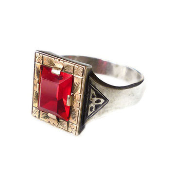 10K Gold Sterling Ring Ruby Red Glass Victorian Aesthetic Arts and Crafts Mens Jewelry
