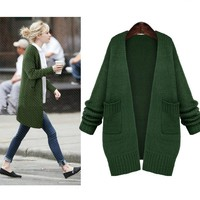 Womens Stylish Long Cardigan Knit Sweater