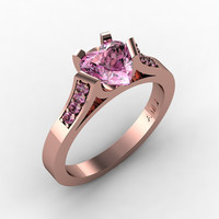 Gorgeous 14K Rose Gold 1.0 Ct Heart Light Pink Sapphire Modern Wedding Ring, Engagement Ring for Women R663-14KRGLPS