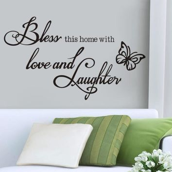 Bless this Home with Love and Laughter Vinyl Wall Decal