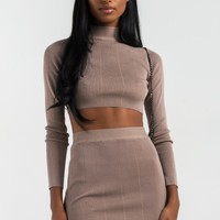 AKIRA Mock Neck Long Sleeve Knitted Crop Sweater in Taupe