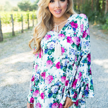 Time to Let Go Floral Long Sleeve Dress