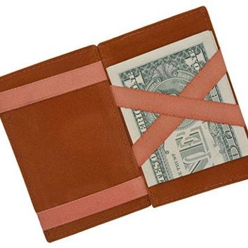 Moga Men's Fashion Magic Money Clip Genuine Leather Minimalistic Slim Wallet (Tan)